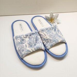 EUC, Laura Ashley White Blue Padded Slippers, M